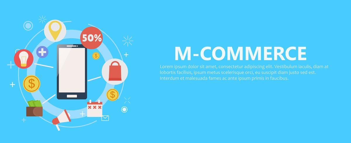 Banner de telefone M-commerce. ilustração plana