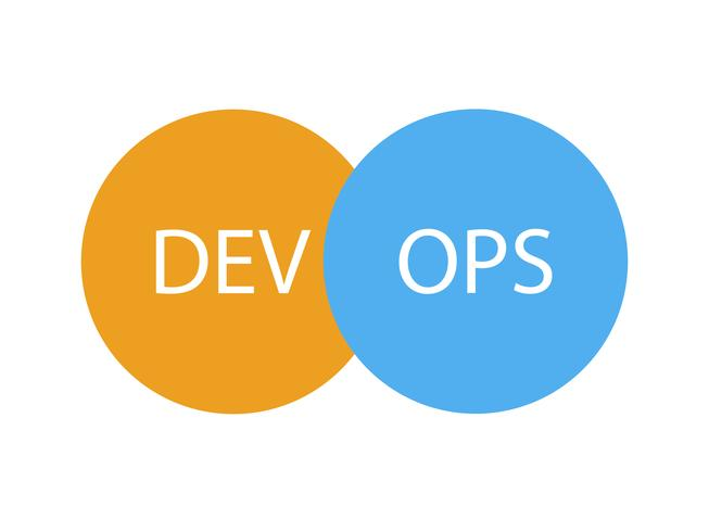 DevOps logotype. Sign of circles with arrows blue. Vector flat illustration