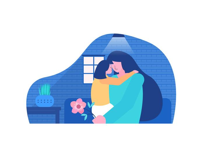 Mom and Daughter Celebrate Mother's Day Vector Flat Illustration