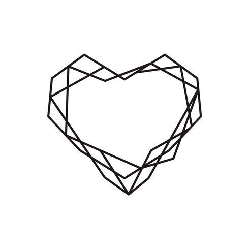 Geometrischer Vektorsymbolherz-Formrahmen mit Platz für Text. Liebesikone für Grußkarte oder Hochzeit, Valentinstag, Tätowierung, Druck. Vector die Kalligraphieabbildung, die auf einem weißen Hintergrund lokalisiert wird