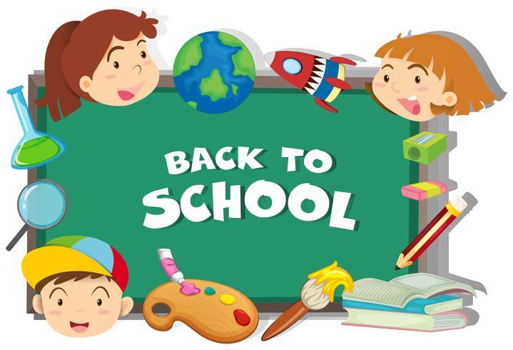 De volta ao tema da escola com os alunos e objetos