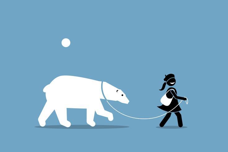 Una niña leashing y caminando con un oso polar.
