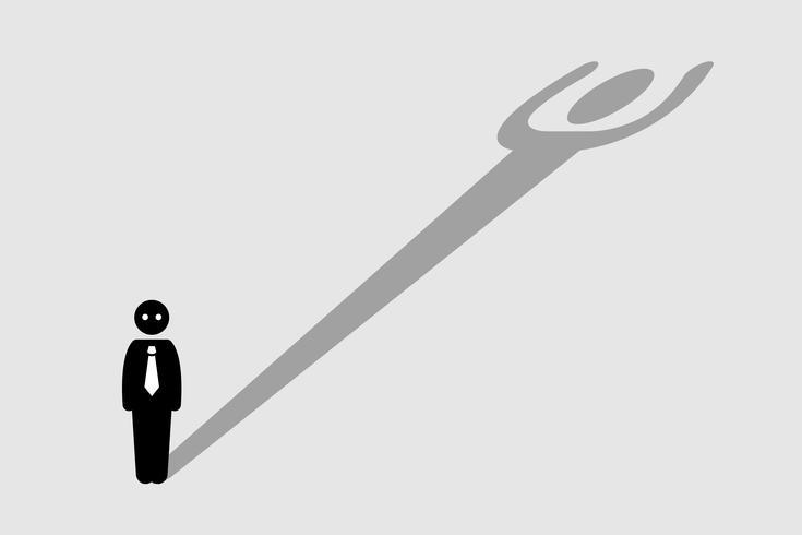 Empresário, lançando uma sombra que se assemelha a uma pessoa forte.