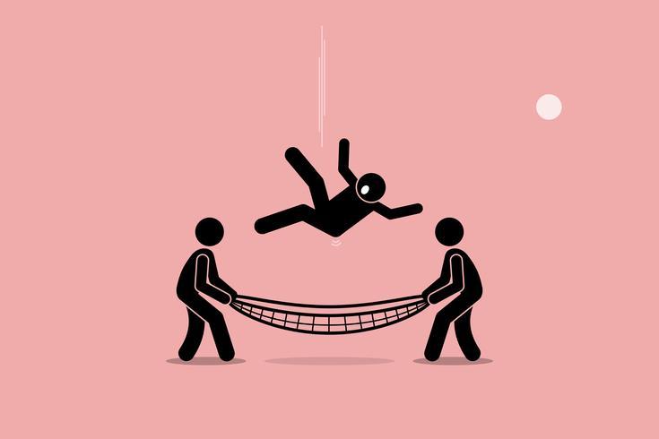 Homem caindo e salvo por pessoas usando a rede de segurança na parte inferior do solo.