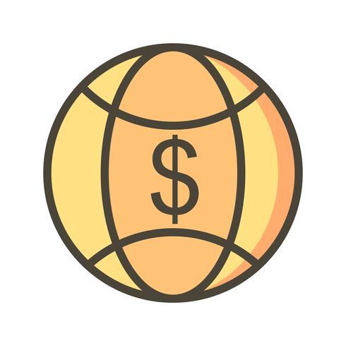 Ícone de vetor de dinheiro mundo