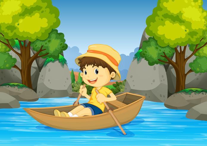 Menino, barco remando, em, a, rio