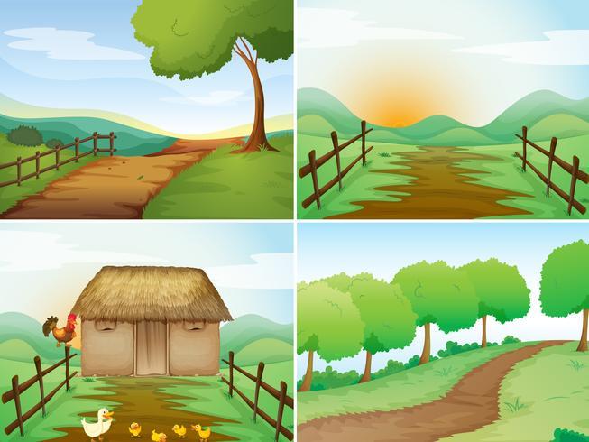 Fyra scener av landsbygden med stuga och vandringsleder