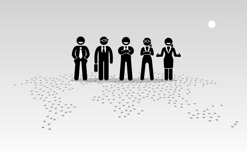 Empresários e empresárias de pé no topo de um mapa do mundo.