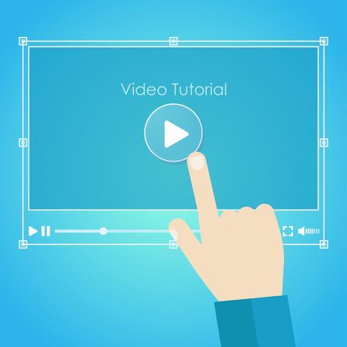 Video tutorial banner. Hand pressing a computer. Vector flat illustration