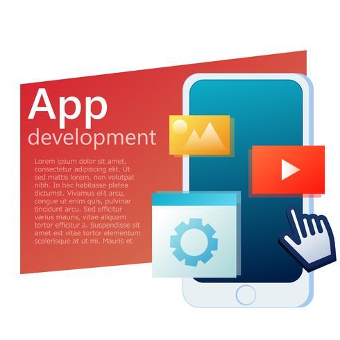 Banner de telefone móvel de design de interface do usuário app. Interface do usuário do aplicativo. Vector gradiente ilustração plana