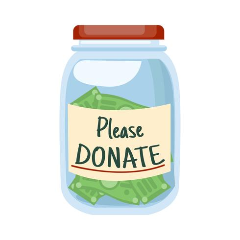 """Glass jar with money & text """"Please DONATE"""""""