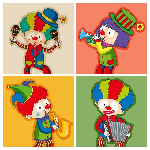 Happy clowns playing different instruments