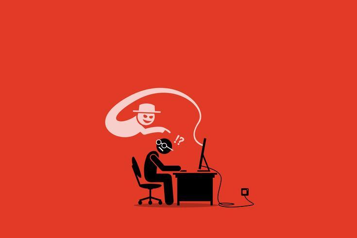 Internet Cyber Scammer Tentando enganar um usuário da Internet.