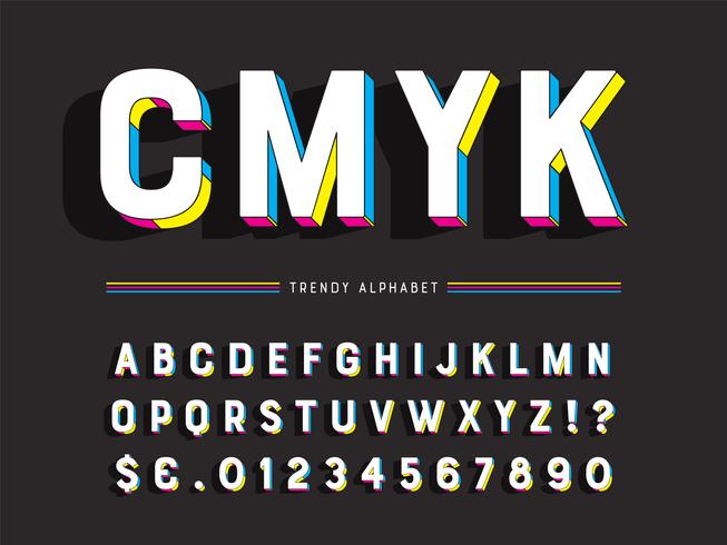 Alfabeto geométrico de moda colorido vector