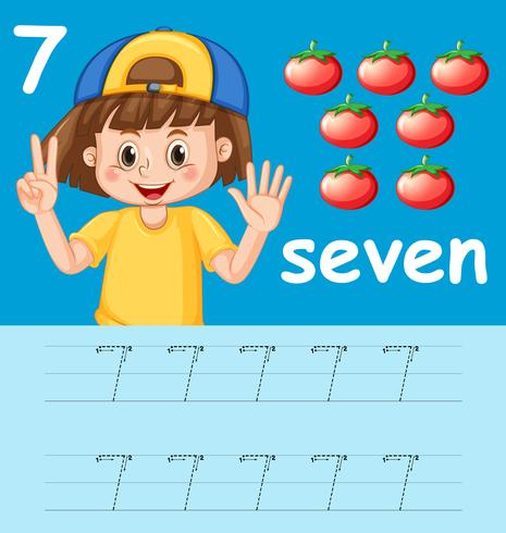 Number seven tracing alphabet worksheets