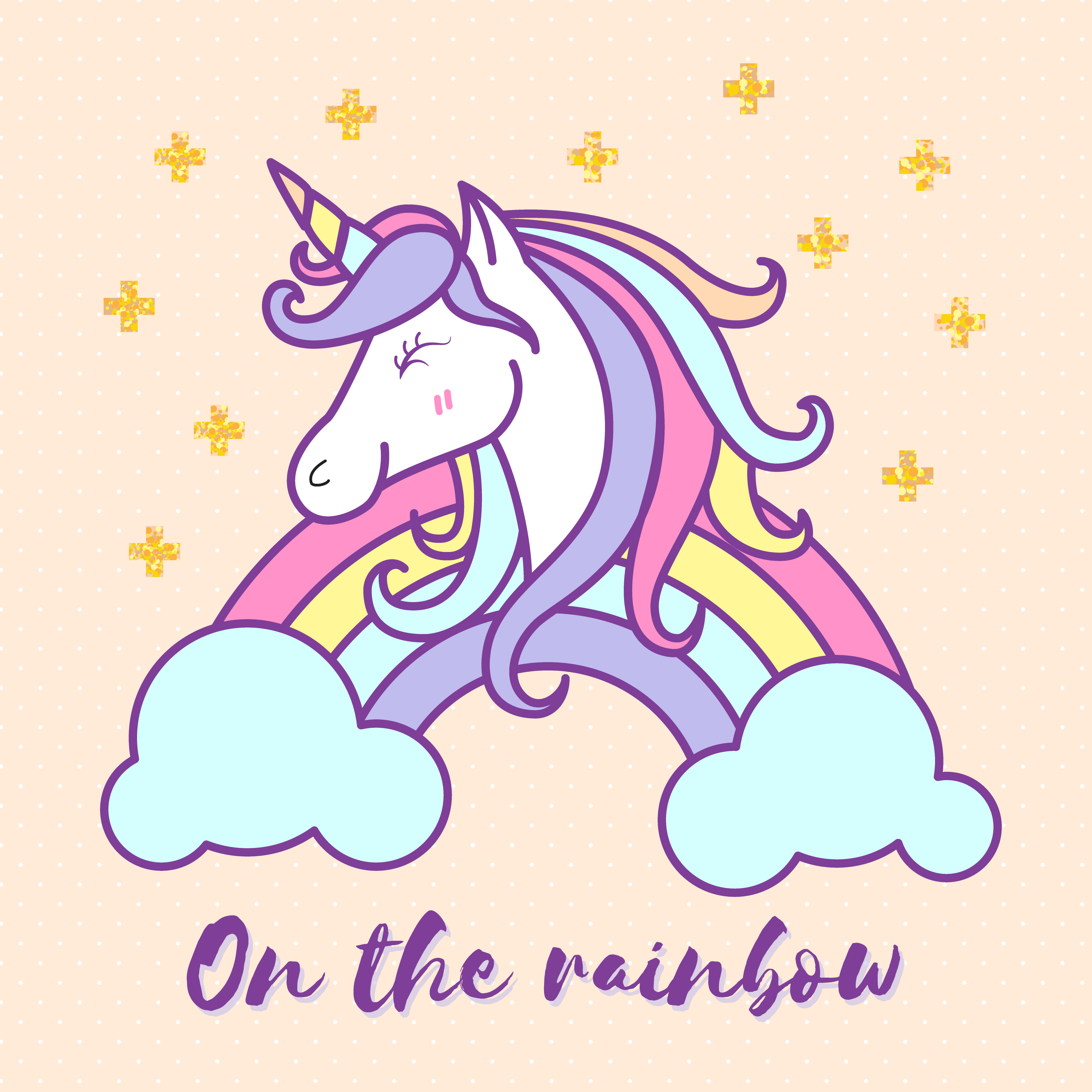 cute unicorn cartoon character illustration design