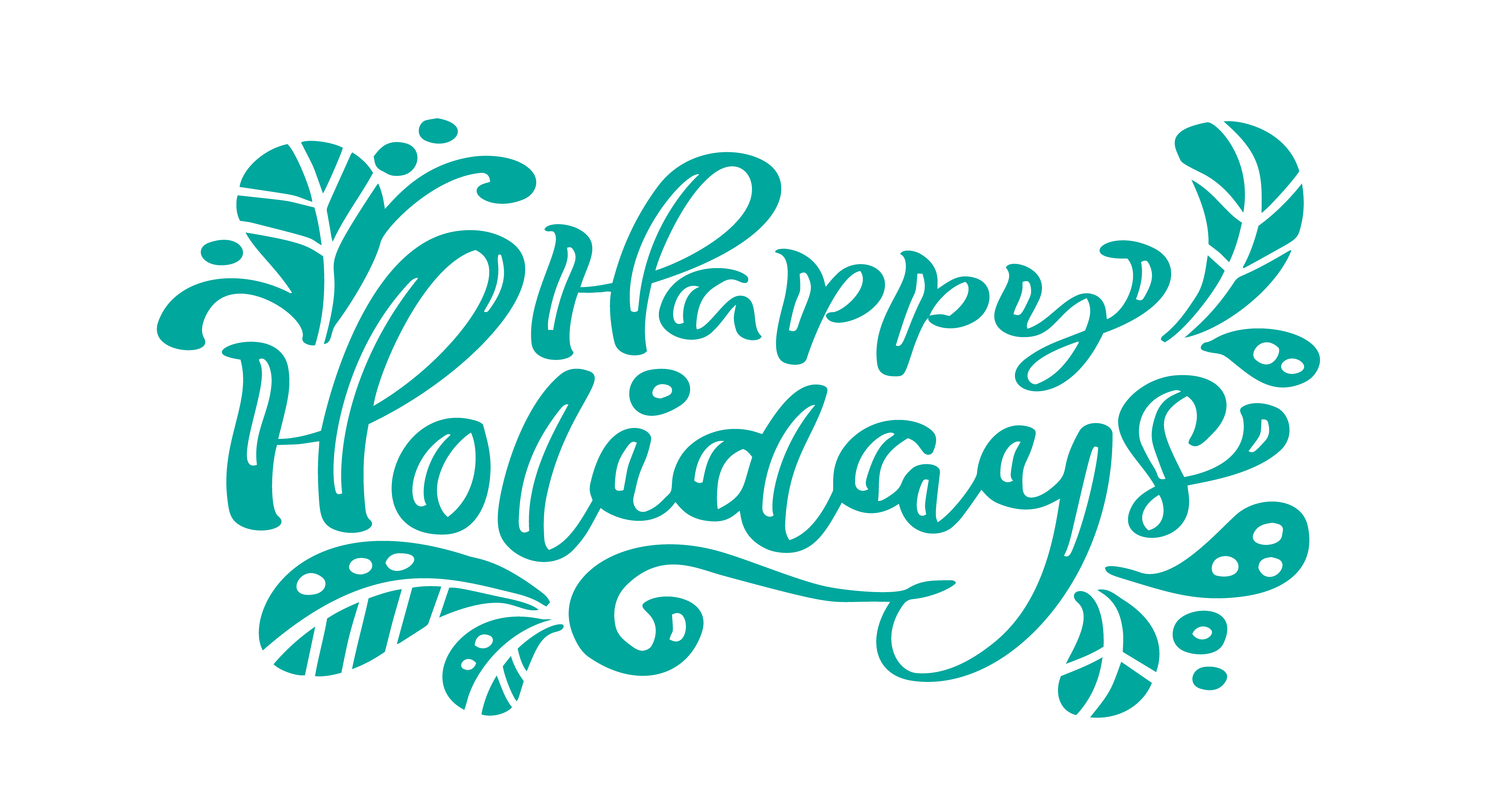 happy holidays turquoise calligraphy lettering vector text