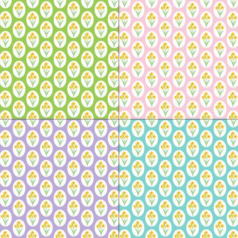 daffodil patterns on pastel backgrounds