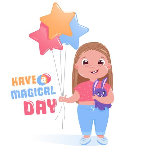 Menina bonitinha comemora feliz festa de aniversário com coelho de brinquedo e balões coloridos. Tenha um cartão do dia mágico. ilustração dos desenhos animados
