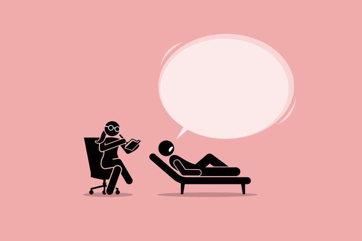 Psicóloga Consultando y escuchando a un paciente problema mental emocional. vector