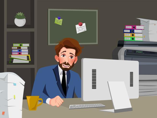 Zakenman werkt aan een computer in zijn kantoor. Vector illustratie.