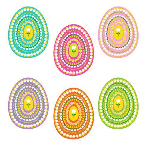 ovos de páscoa com tulipas e pintos padrão vetor