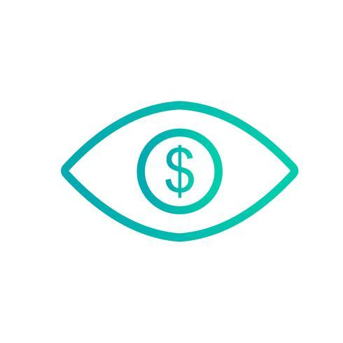 Ojo dólar Vector icono