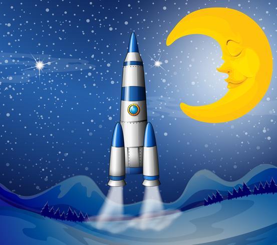 Un cohete que va al cielo con una luna dormida.