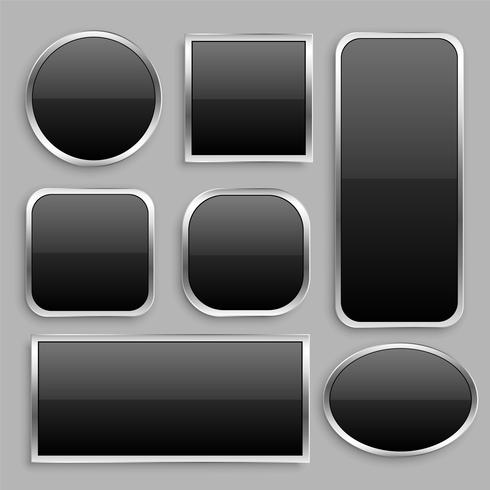 uppsättning svart glansig knapp med silverram