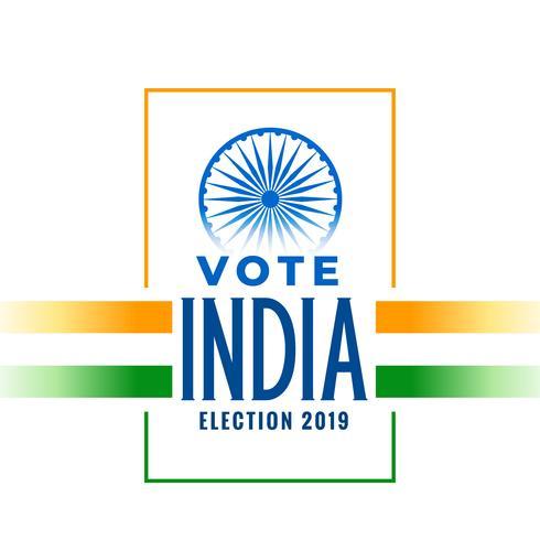 bannière élection 2019 avec drapeau indien tricolore