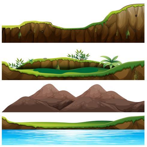 Quatro visões de montanha e rio