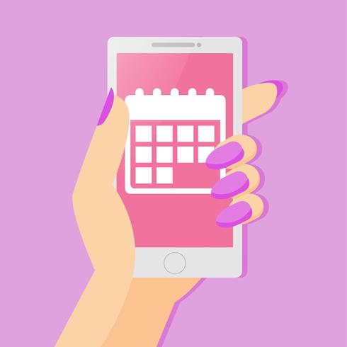 An app of a woman's period track calendar on the phone in her hand. Vector flat illustration