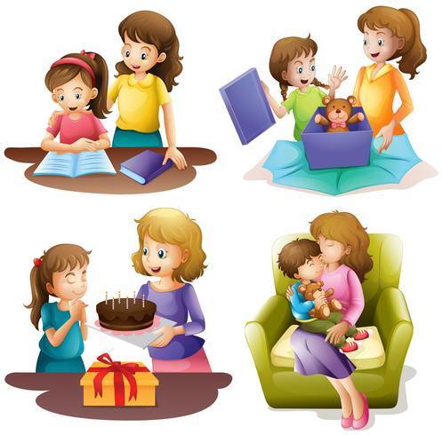 Mãe e filho fazendo atividades diferentes