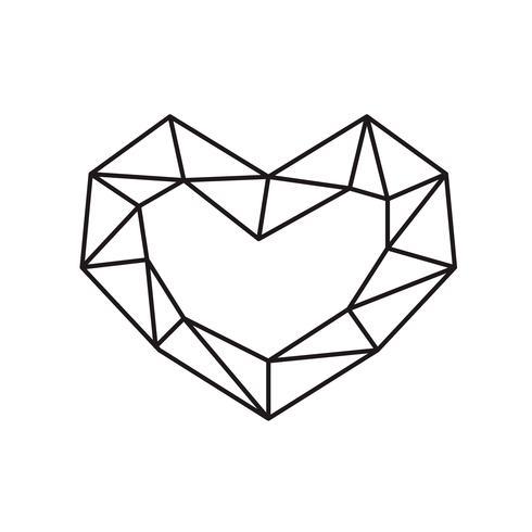 Geometrisk vektor symbol hjärtformad ram med plats för text. Kärleksikon för hälsningskort eller bröllop, Alla hjärtans dag, tatuering, tryck. Vektor kalligrafi illustration isolerad på en vit bakgrund