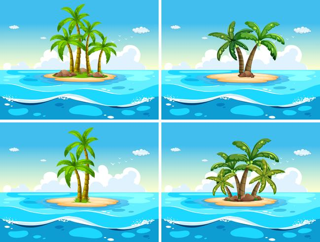 Four scenes with island in the sea