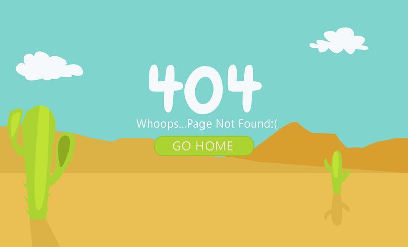 Öken med kaktus Page 404 Ej funnen. Vektor platt illustration