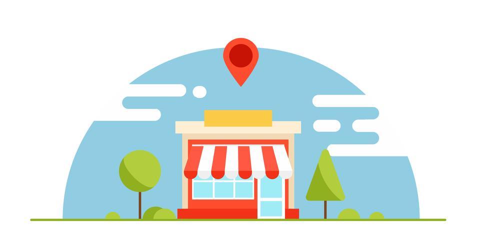 Bannière d'optimisation des entreprises locales. Le magasin est rentable. Fond horizontal avec des arbres et des montagnes. Illustration de plat Vector