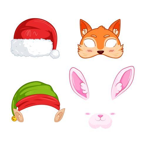 Silvester-Masken für Fotos. Weihnachten clipart Weihnachtsmann und Elf und Kaninchen und und Fuchs. Vektorkarikaturabbildung