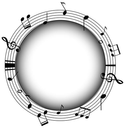 Round frame with musicnotes and gray background