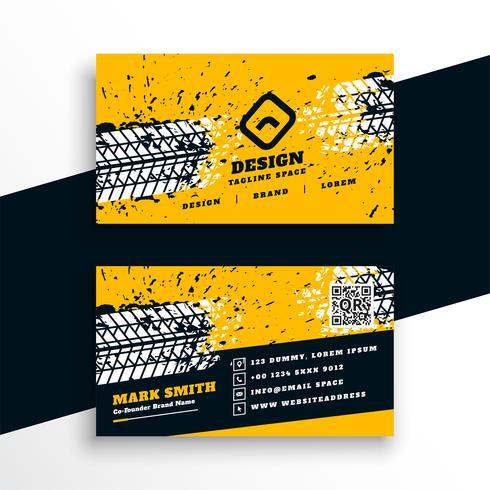Resumen diseño de tarjeta de visita de estilo de pista de neumático