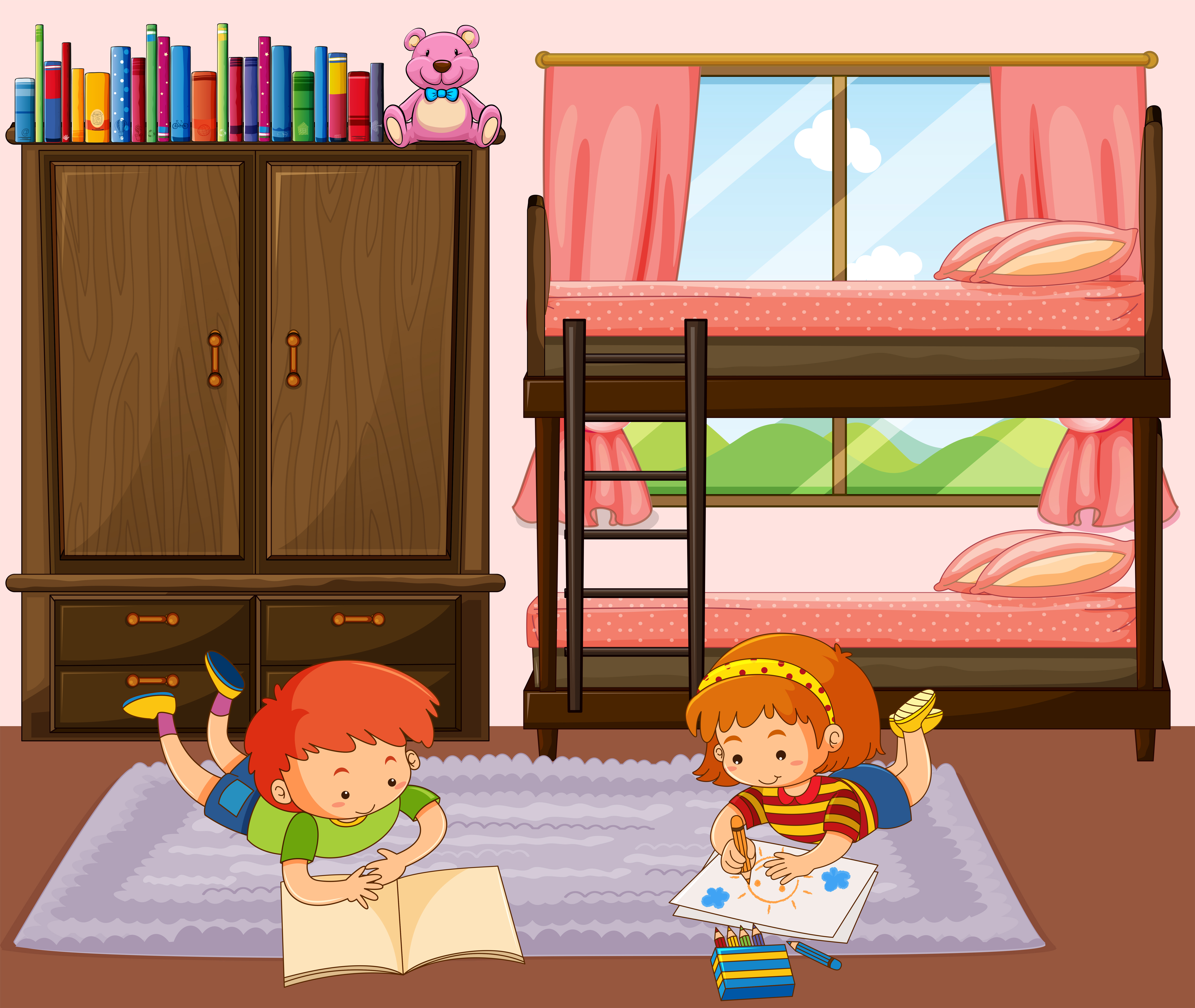 Boy And Girl Reading Book In Bedroom Download Free