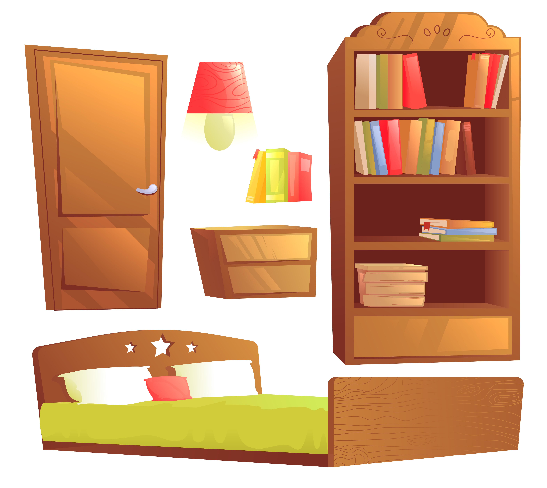 Cartoon Furniture: Modern Furniture For Bedroom Interior Design. Vector