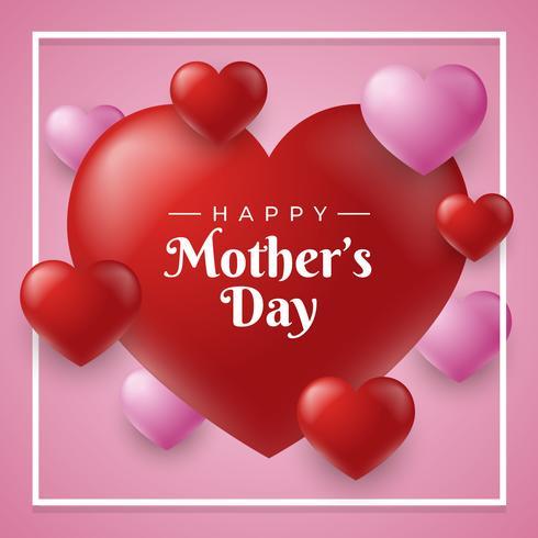 Feliz Día De La Madre Tarjeta De Corazones Fondo Vector Plantilla