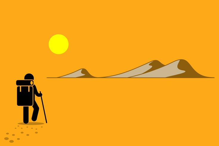 Person with backpack and stick walking in the desert under the hot sun searching for adventure. vector