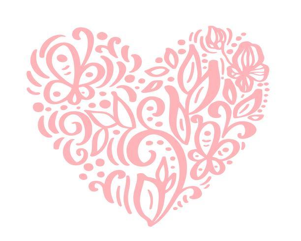 Dibujado a mano corazón amor San Valentín flores separador. Caligrafía de elementos de diseño de flora. Vector el ejemplo de la boda del vintage aislado en el marco blanco del fondo, corazones para su diseño
