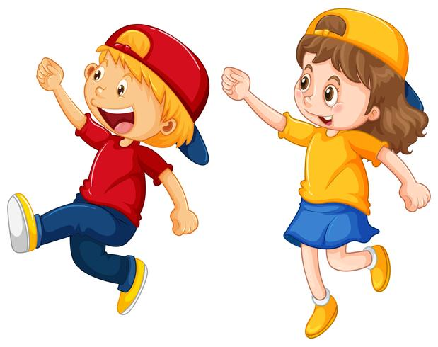 Boy and girl wearing caps