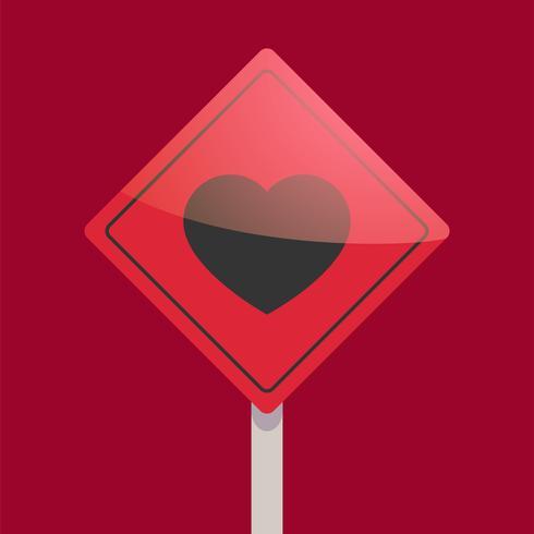 Sinal de estrada com o coração. Ponteiro de amor Ilustração vetorial plana