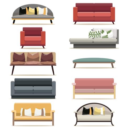 Modern design sofa furniture of living room set vector