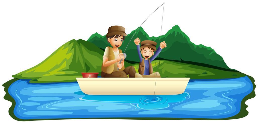 Padre e figlio pesca nel lago