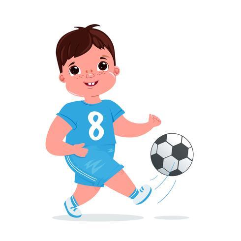 Cute boy girl playing football with a soccer ball. Player's team modern uniform. Healthy activities. Vector cartoon illustration
